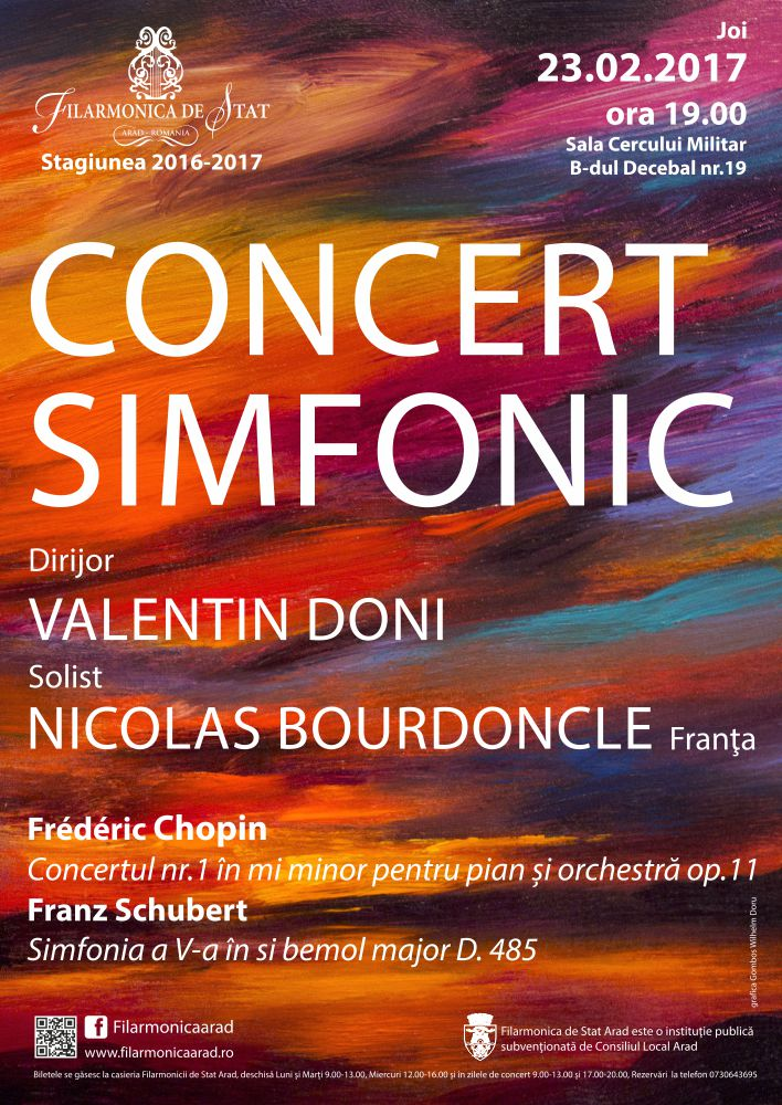 Concert simfonic cu lucrări de Chopin și Schubert, la filarmonica arădeană