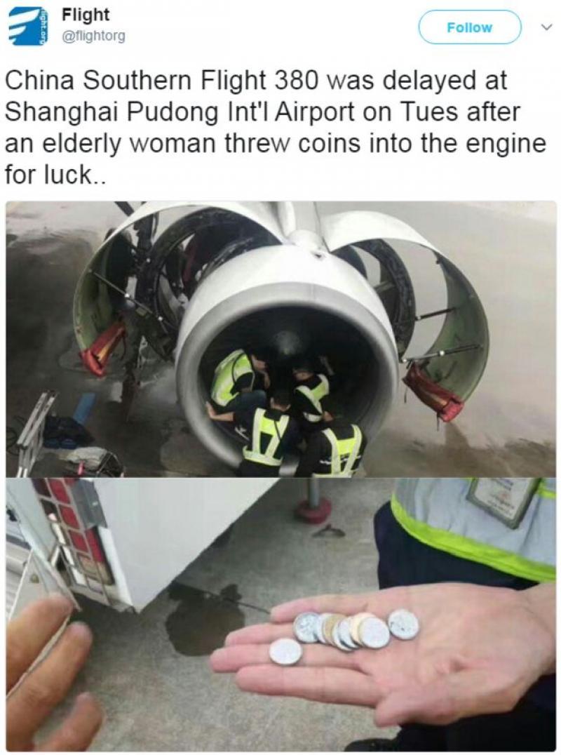 """Și-a aruncat tot mărunțișul în motorul avionului pentru """"a avea noroc"""""""