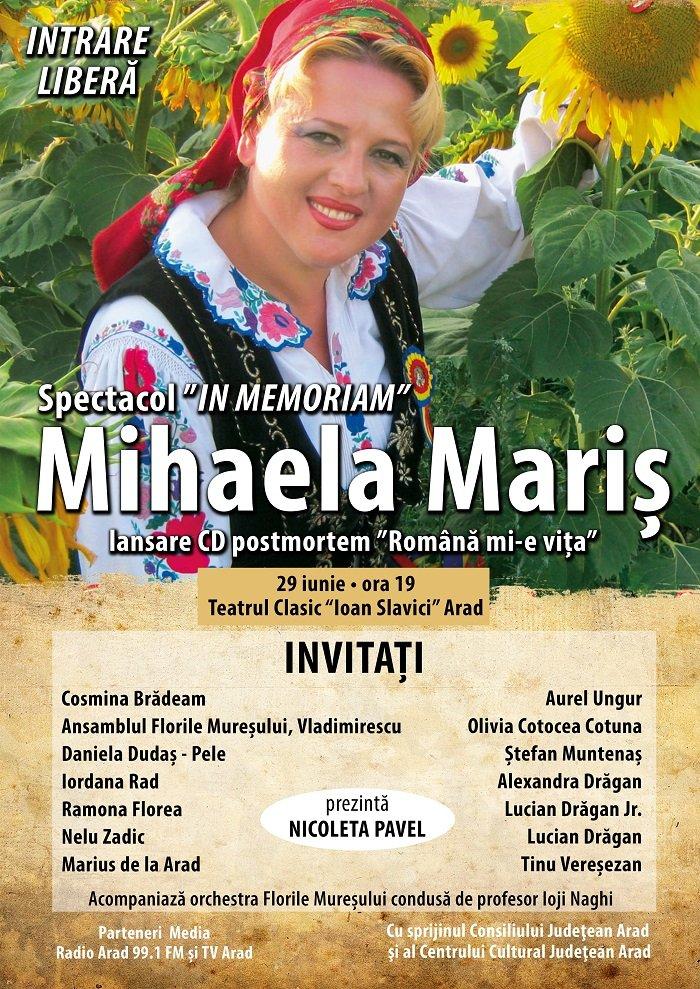 Spectacol extraordinar In Memoriam Mihaela Mariş, la Teatrul Clasic Ioan Slavici