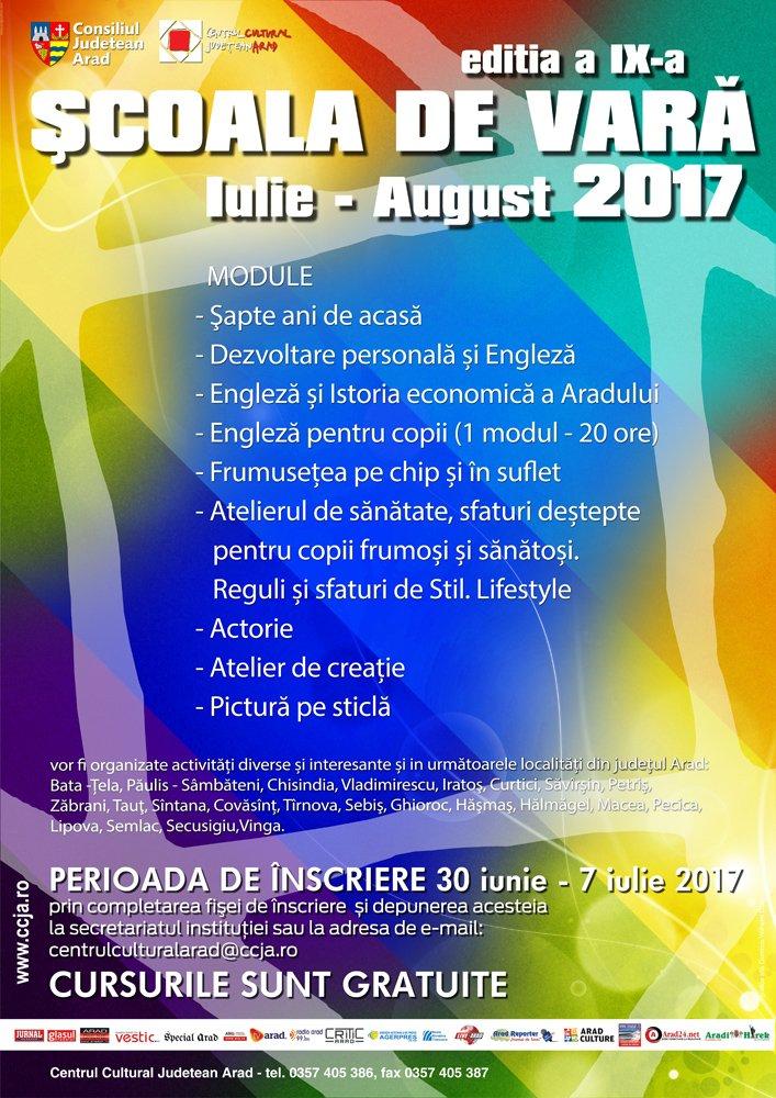 Înscrieri pentru Școala de Vară, organizată de CCJ Arad