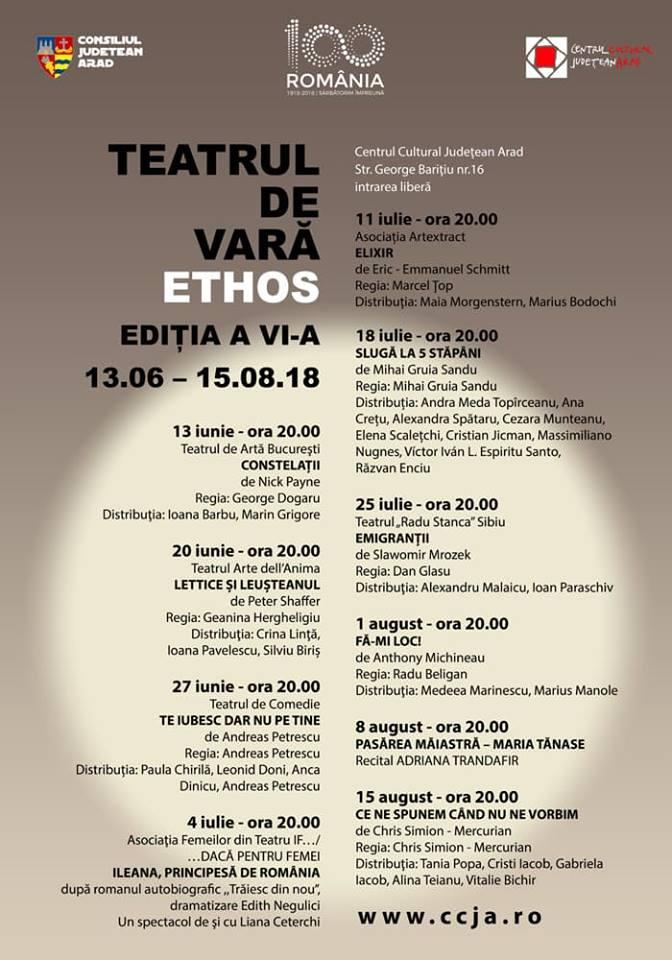 Începe Teatrul de Vară Ethos 2018