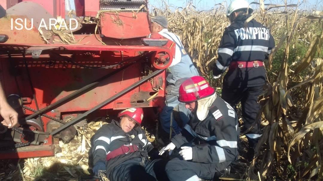 Intervenție ISU la Târnova, unde un bărbat și-a prins mâna într-un utilaj agricol
