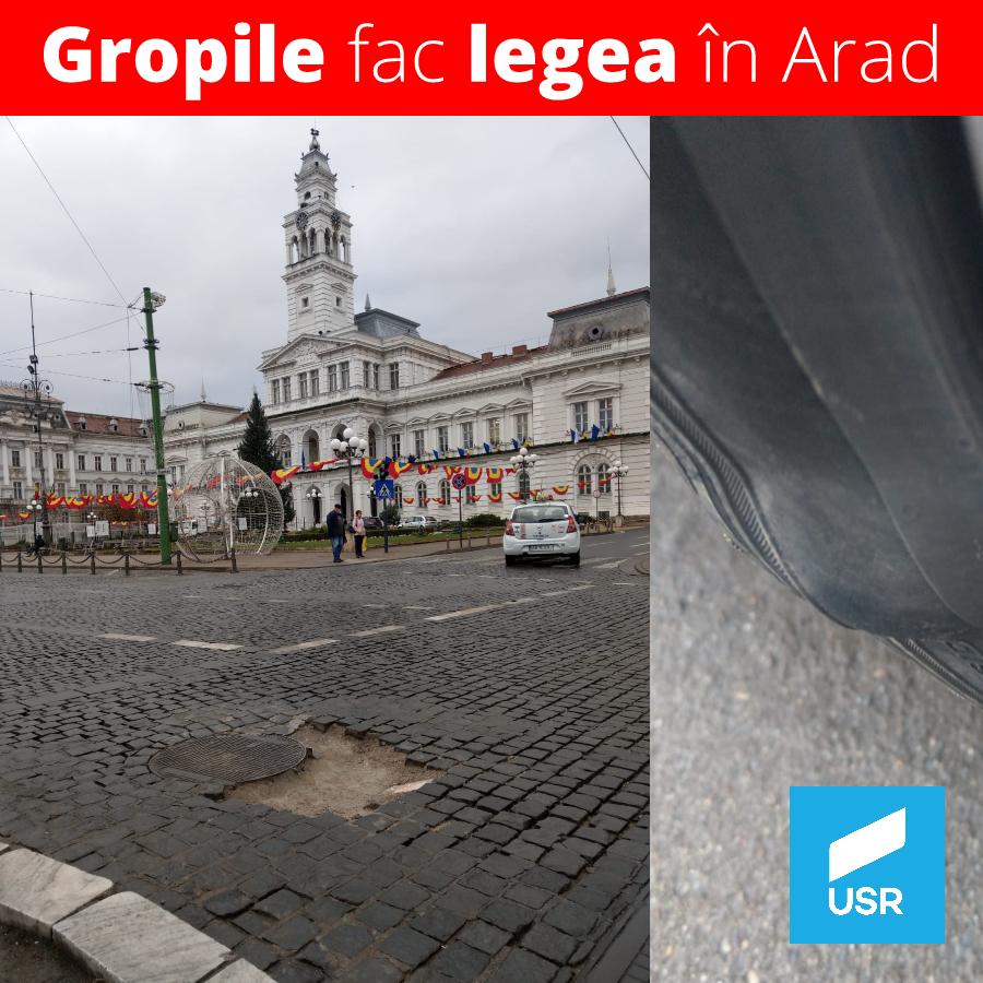 Gropile fac legea în centrul Aradului